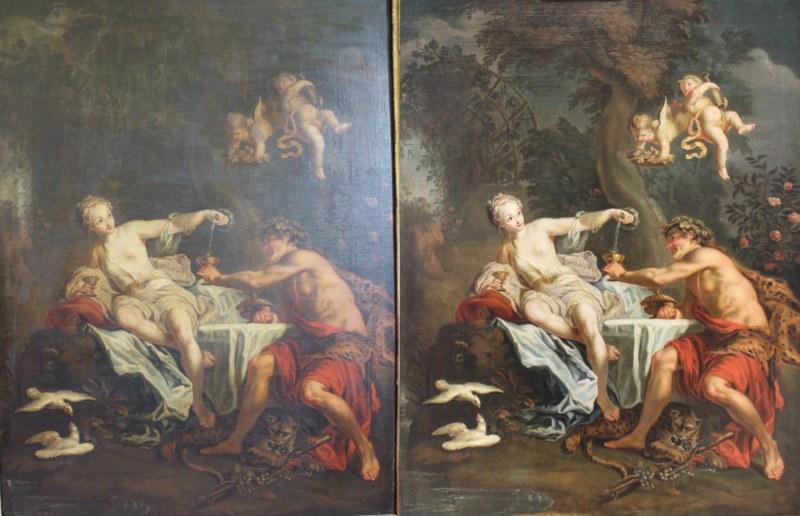Bacchus et Ariane - Coypel ( ou atelier ) Allègement du vernis, enlèvement des repeints anciens, masticage, retouche, vernissage