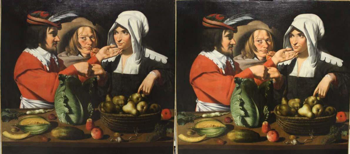 Vendeuse de légumes -  Georges de La Tour ( ou atelier )- avant /après