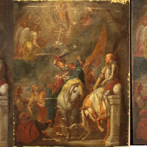 """""""Saint Martin""""d'Arnould De Vuez - Allègement du vernis, enlèvement des repeints anciens, masticage, retouche, vernissage"""